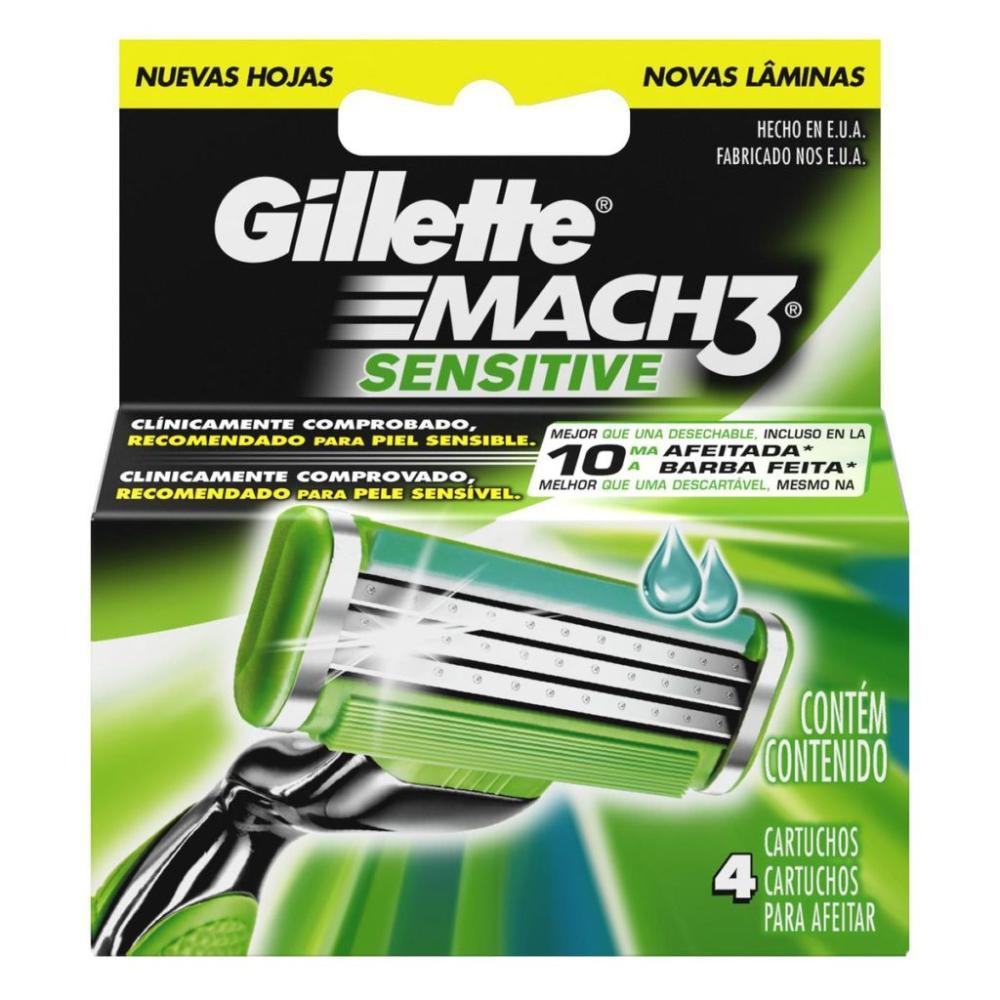 Carga para Aparelho de Barbear Gillette Mach3 Sensitive - 4 unidades