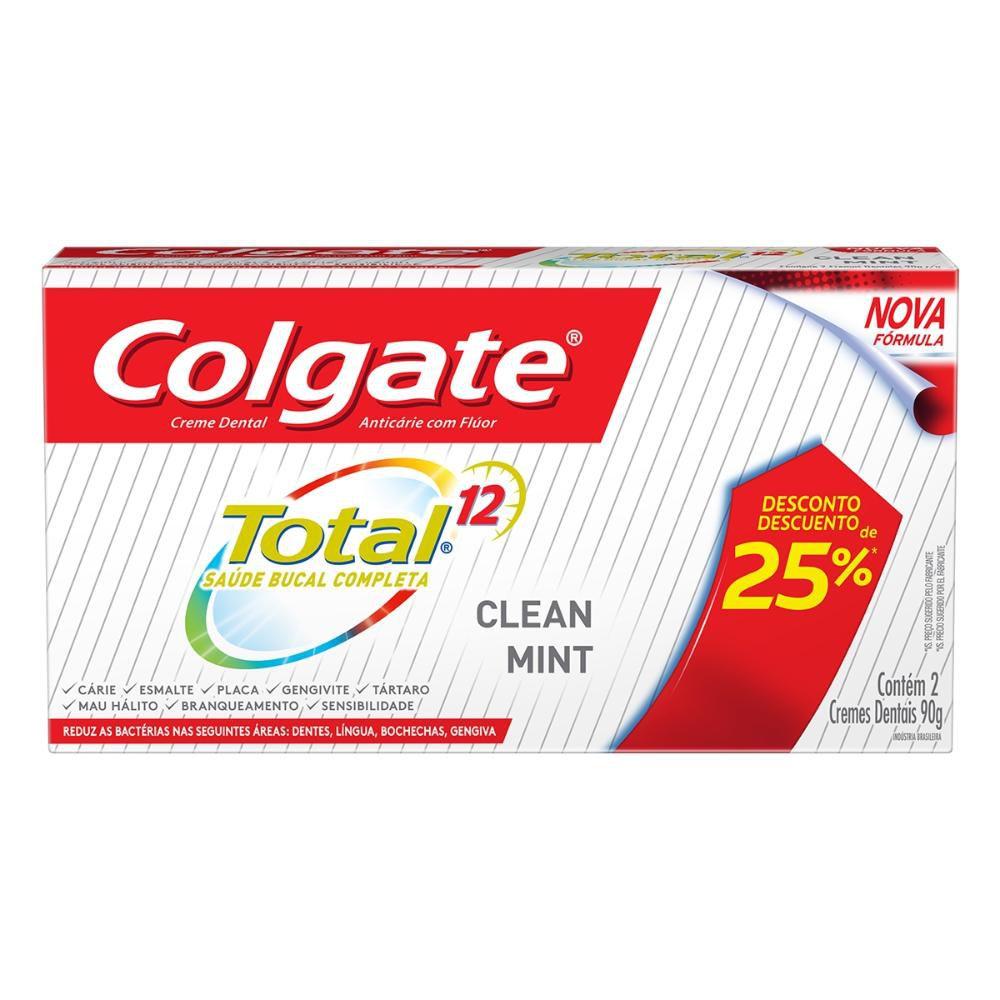 Creme Dental Colgate Total 12 Clean Mint 90g 2 Unidades