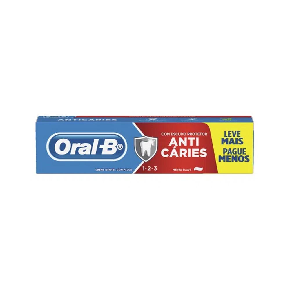 Creme Dental Oral-B 123 Menta Anti Caries Leve 150g Pague 100g