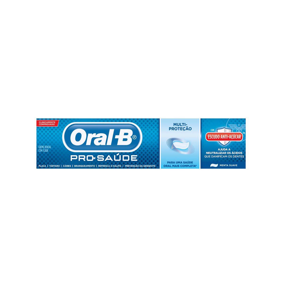 Creme Dental Oral-B Pro-Saúde Escudo Anti-Açúcar 70g