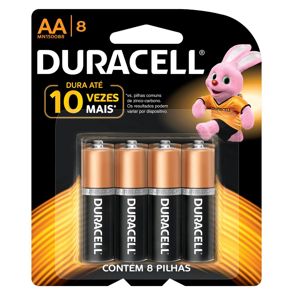Duracell Duralock Pilha Alcalina AA c/ 8 unidades