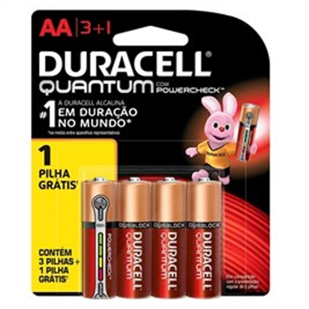 Duracell Pilha Super Alcalina AA Quantum Leve 4 Pague 3