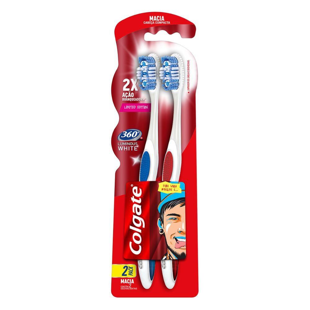Escova Dental Colgate 360º Luminous White 2unidades Leve 2 Pague 1