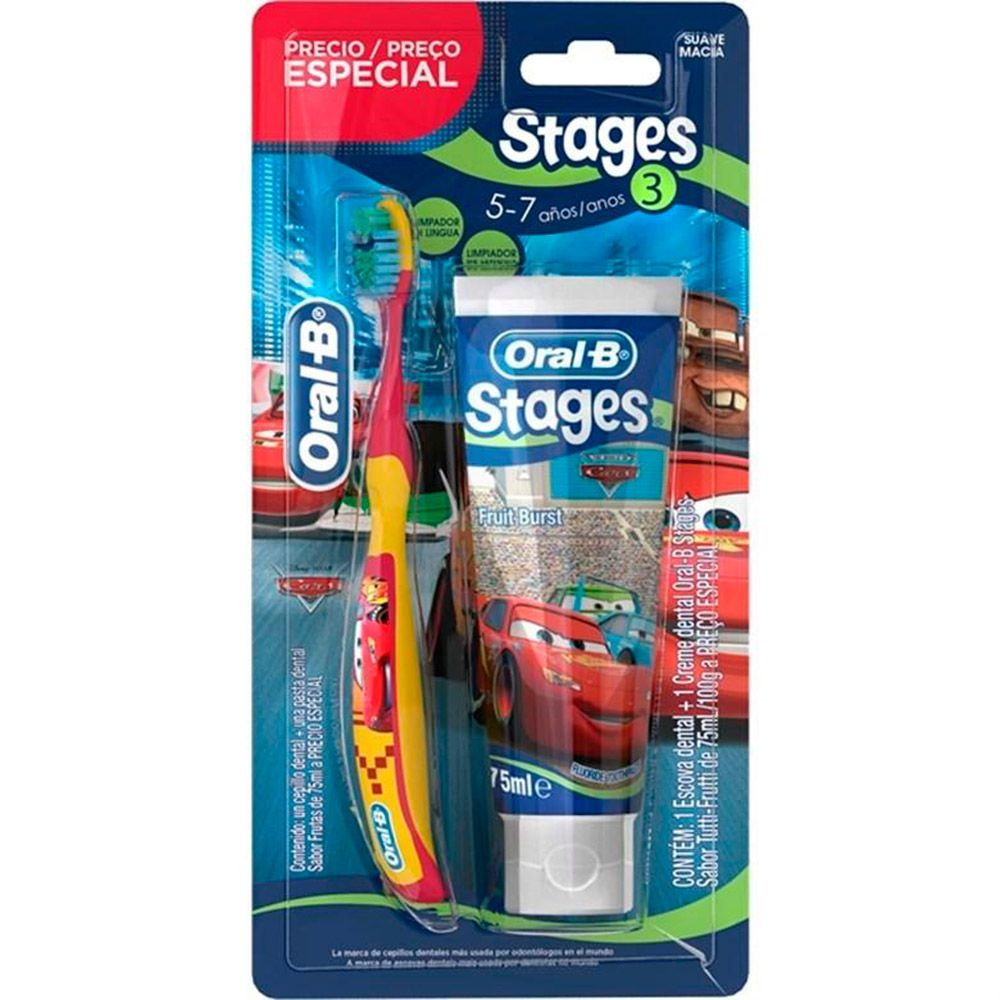 Escova Dental Infantil Oral-B Stages 3 + Creme Stages 75 mL