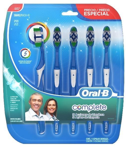 Escova Dental Oral-B Complete 5X Ação de Limpeza 40S Pack 5 Unidades