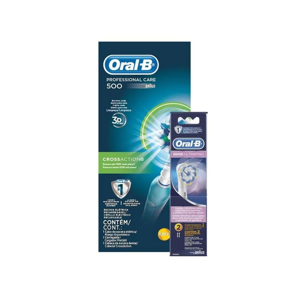 Escova Elétrica Oral-B Professional Care 500 D16 220v + Refil SenUltrati c/ 2 Un