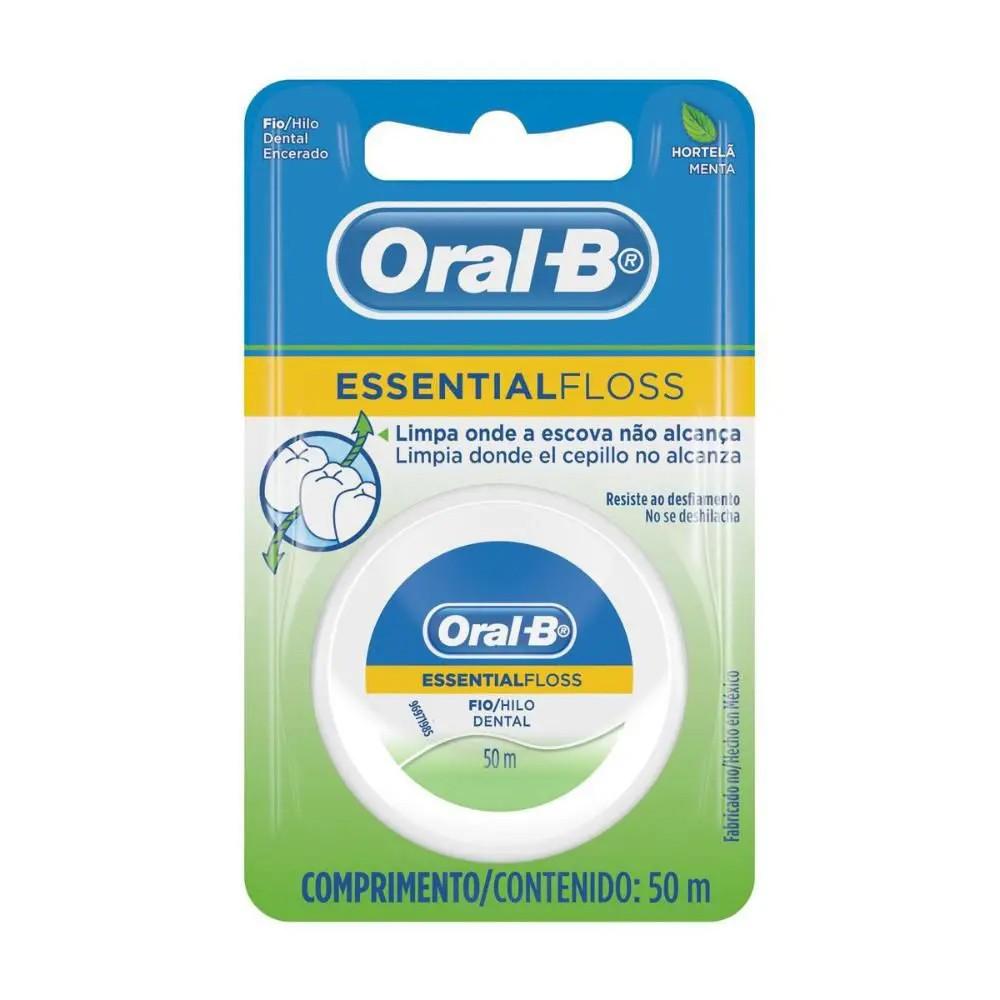 Fio Dental Oral-B Essential Floss Encerado Menta 50m