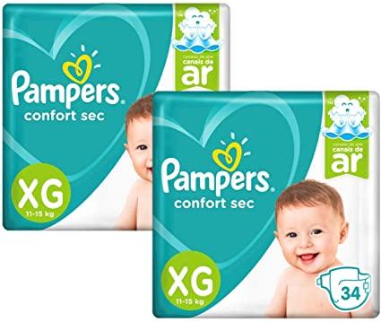 Kit Fralda Pampers Confort Sec Tamanho XG com 68 unidades