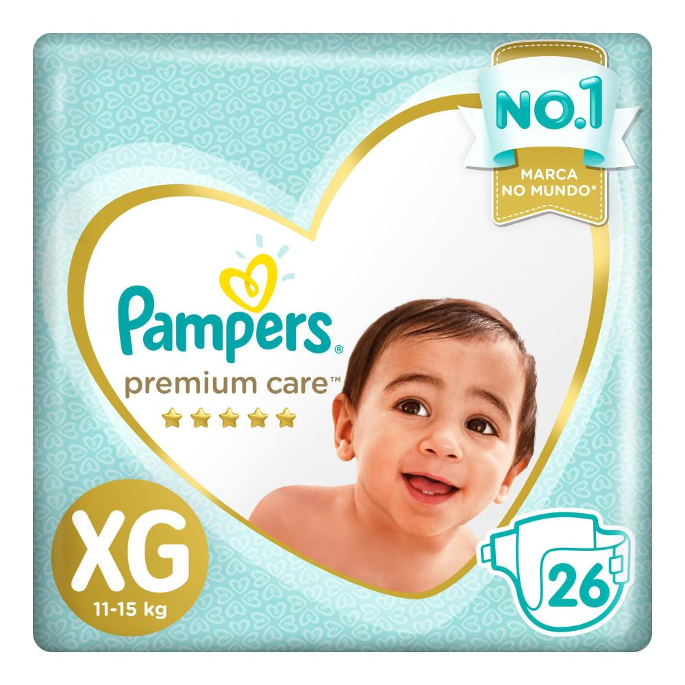 Fralda Pampers Premium Care Nova Mega Tamanho XG 26 Unidades
