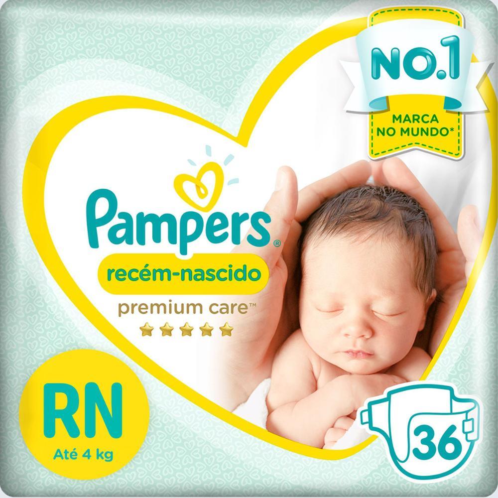 Fralda Pampers Premium Care Recém Nascido com 36 unidades - Até 4 Kg