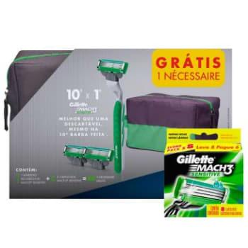 Gillette Mach3 Sensitive com 1 Aparelho + 10 Cargas + Necessaire
