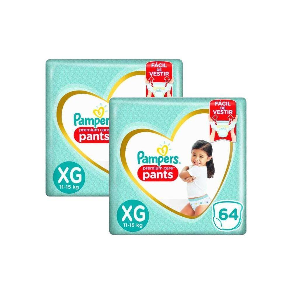 Kit 128 Fraldas Pampers Premium Care Pants Top Tamanho XG