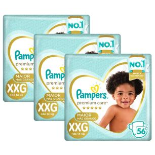 Kit 168 Fralda Pampers Premium Care Jumbo Tamanho XXG