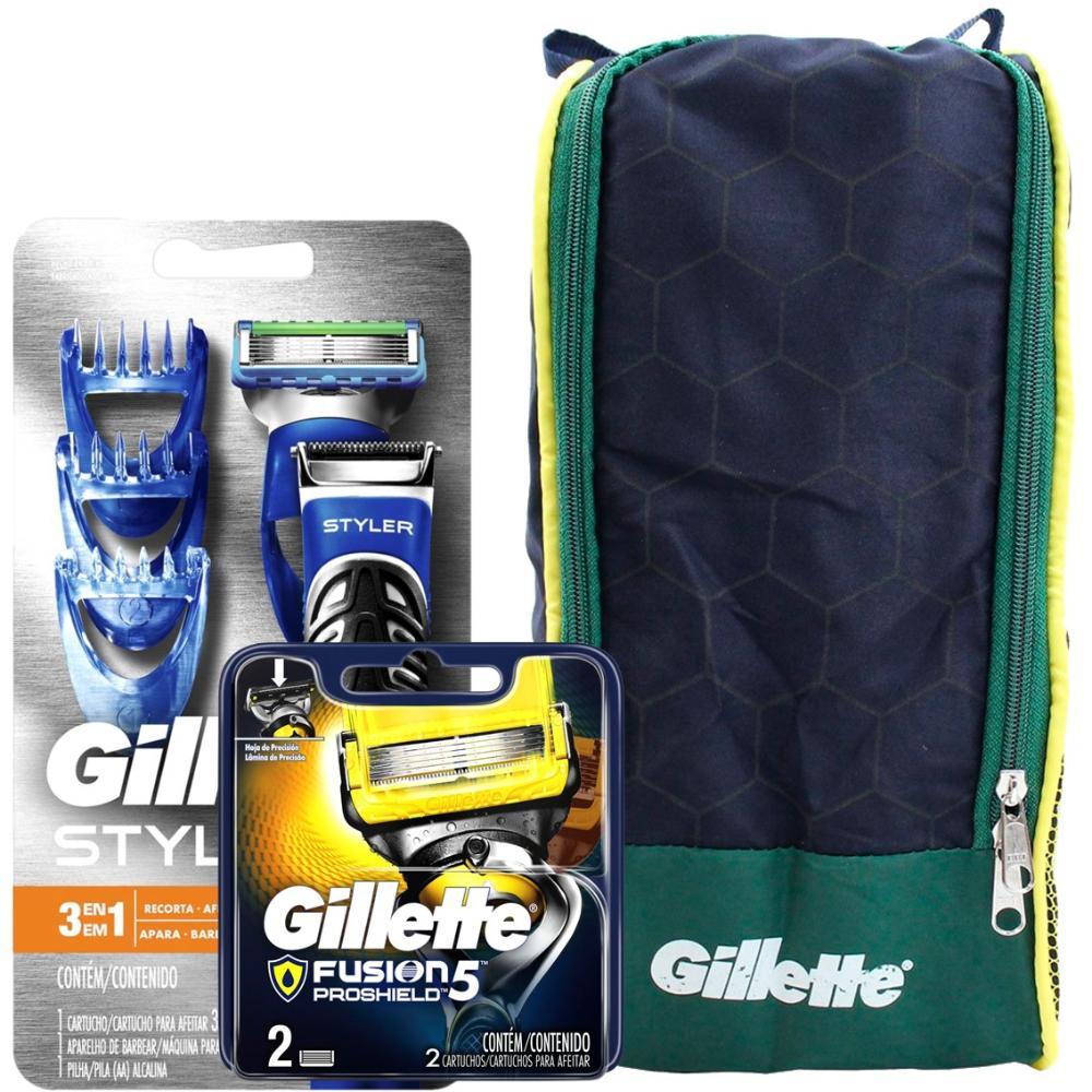 Kit 1 Aparelho de Barbear Gillette Proglide Styler + Carga Gillette Aparelho de Barbear Fusion Proshield c/2