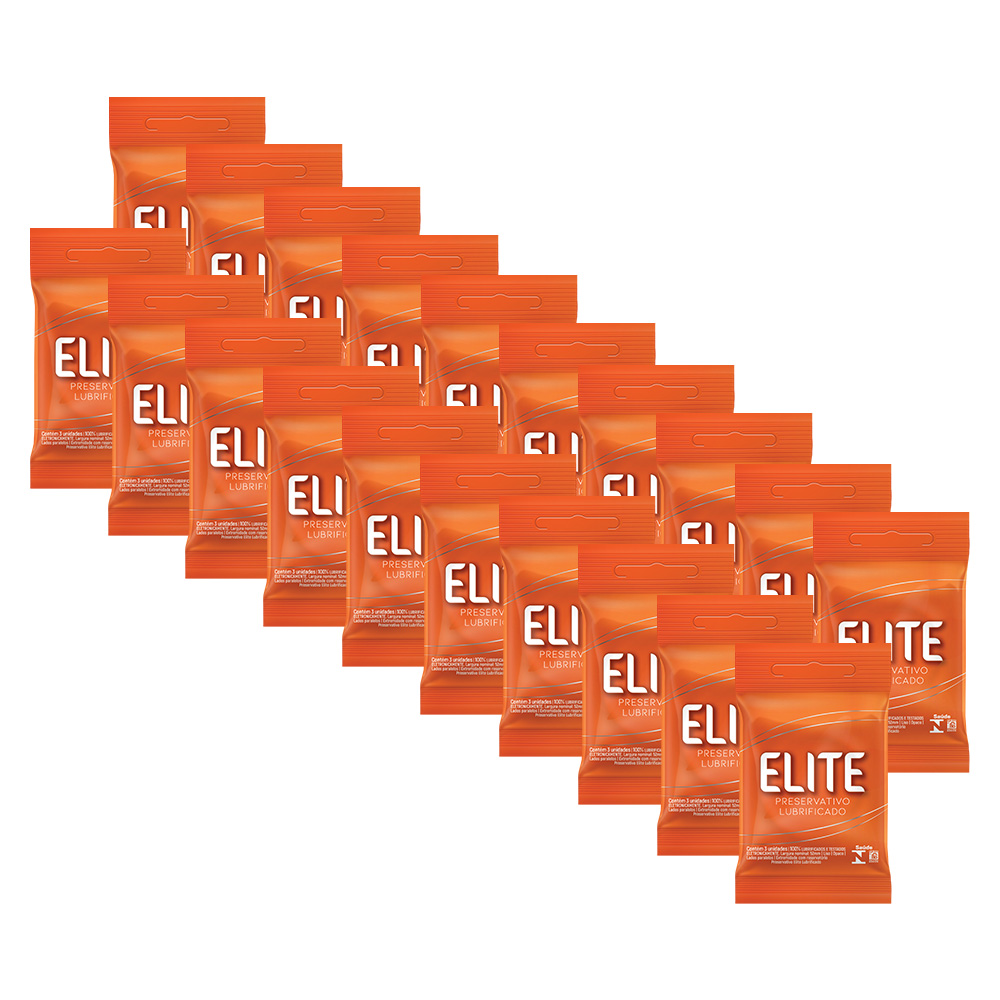 Kit 20 Pacotes Preservativos Elite C/ 3 Unidades Cada