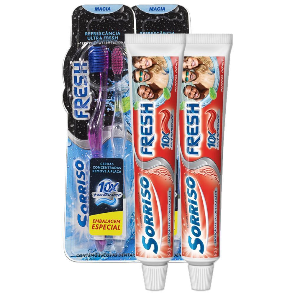 Kit 2 Cremes Dental Sorriso Fresh Menthol Impact 90g + 4 Escovas Fresh