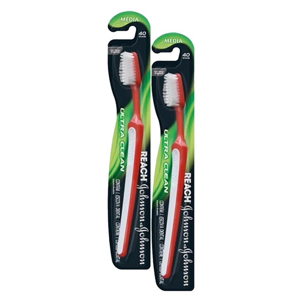 Kit 2 Escovas Dental J&J Reach Ultra Clean Média 40