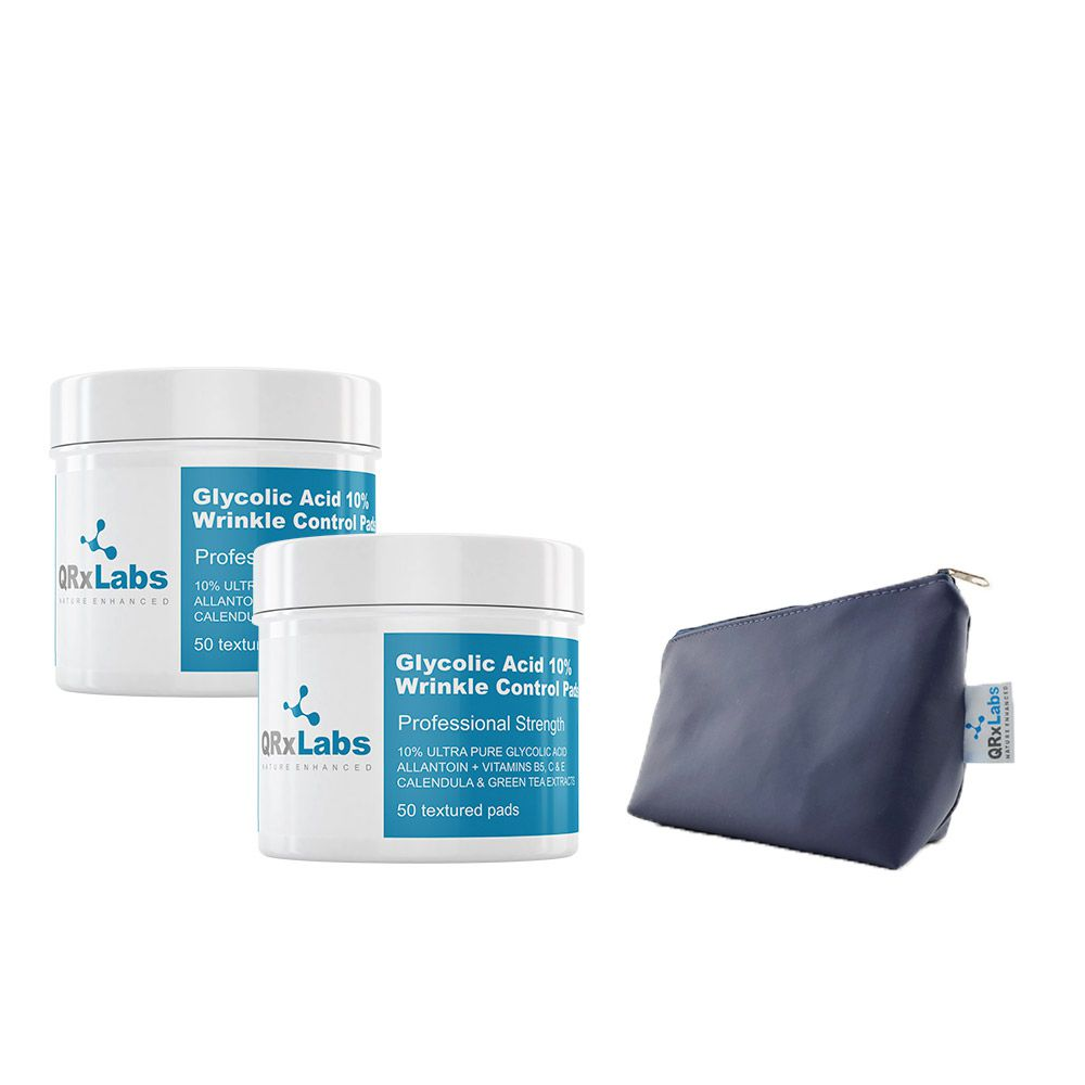 Kit 2 Lenços QRxLabs de Ácido Glicólico Controle de Rugas - 50 unidades + Necessaire Azul