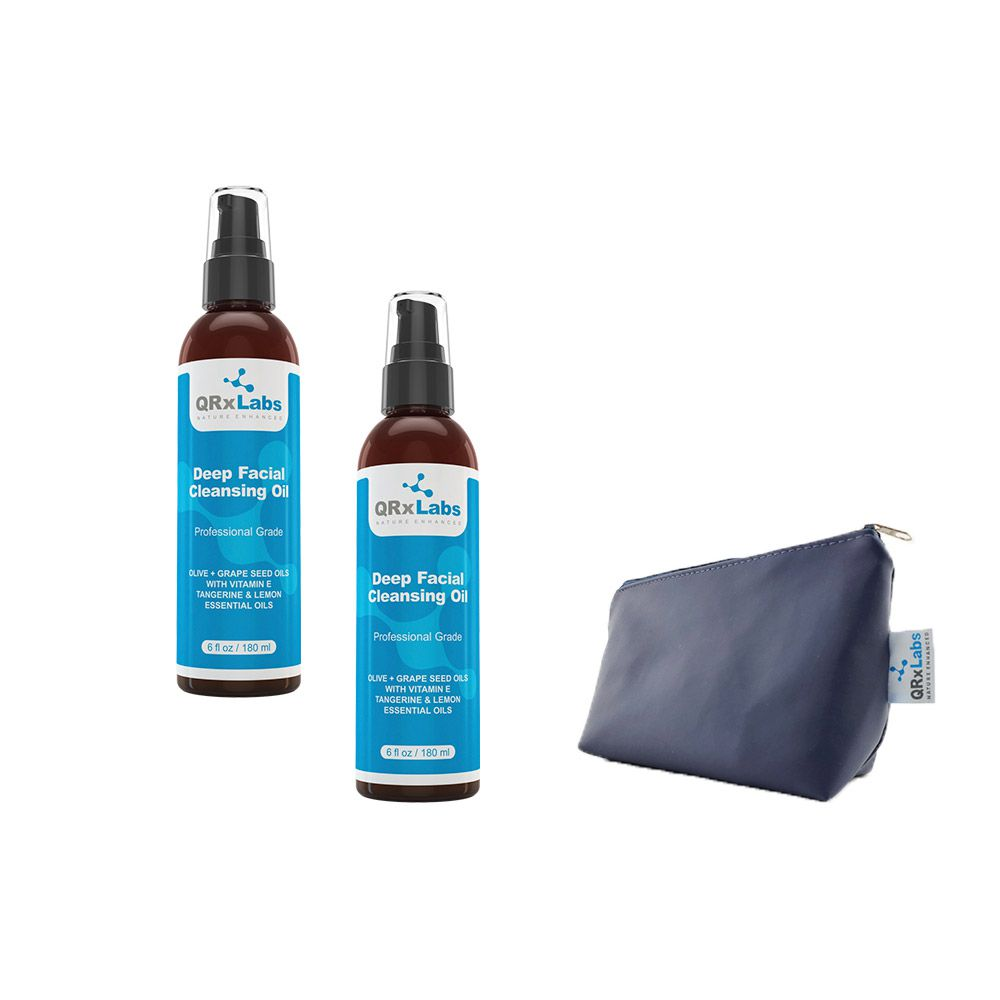 Kit 2 Óleos de Limpeza Facial QRxLabs 180ml + Necessaire Azul