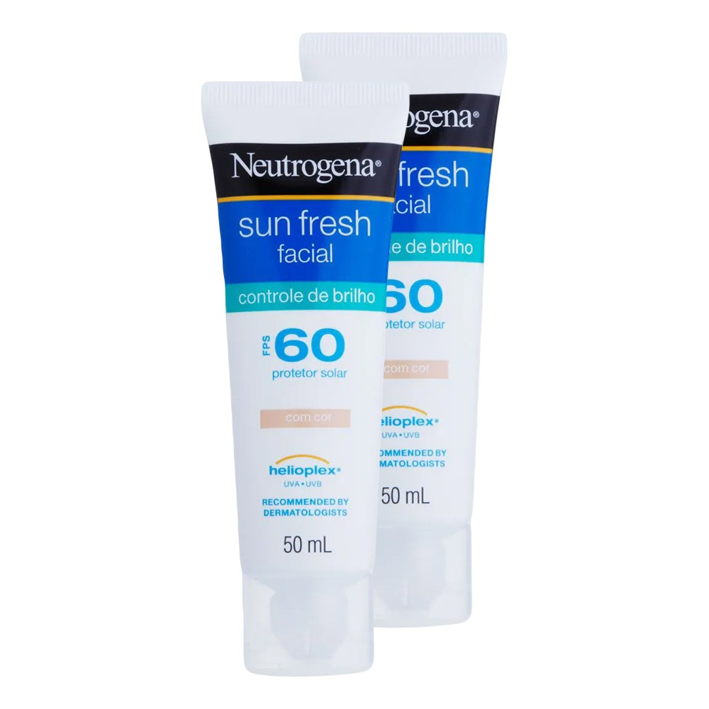 Kit 2 Protetor Solar Facial Neutrogena Sun Fresh Controle do Brilho com Cor FPS 60 50g