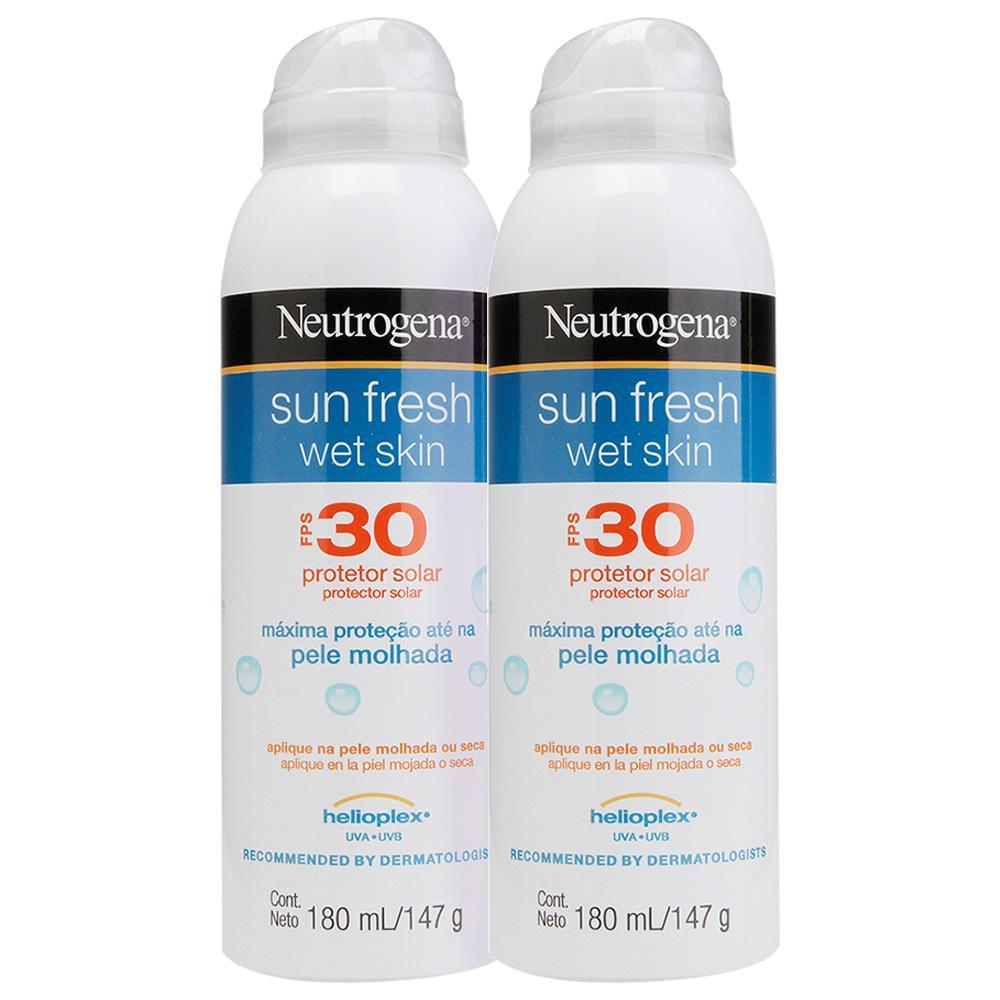 Kit 2 Protetor Solar Neutrogena Sun Fresh Wet Skin Aerosol FPS 30 180ml
