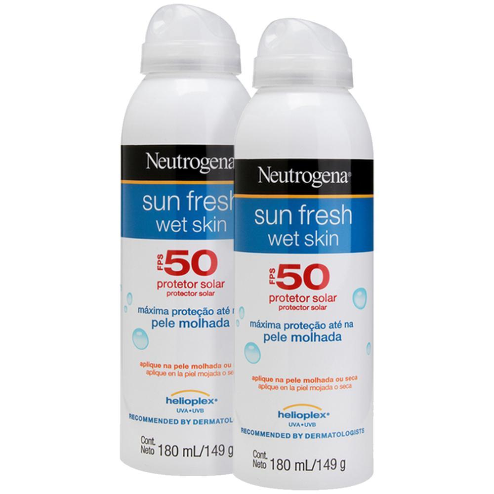 Kit 2 Protetor Solar Neutrogena Sun Fresh Wet Skin Aerosol FPS 50 180ml