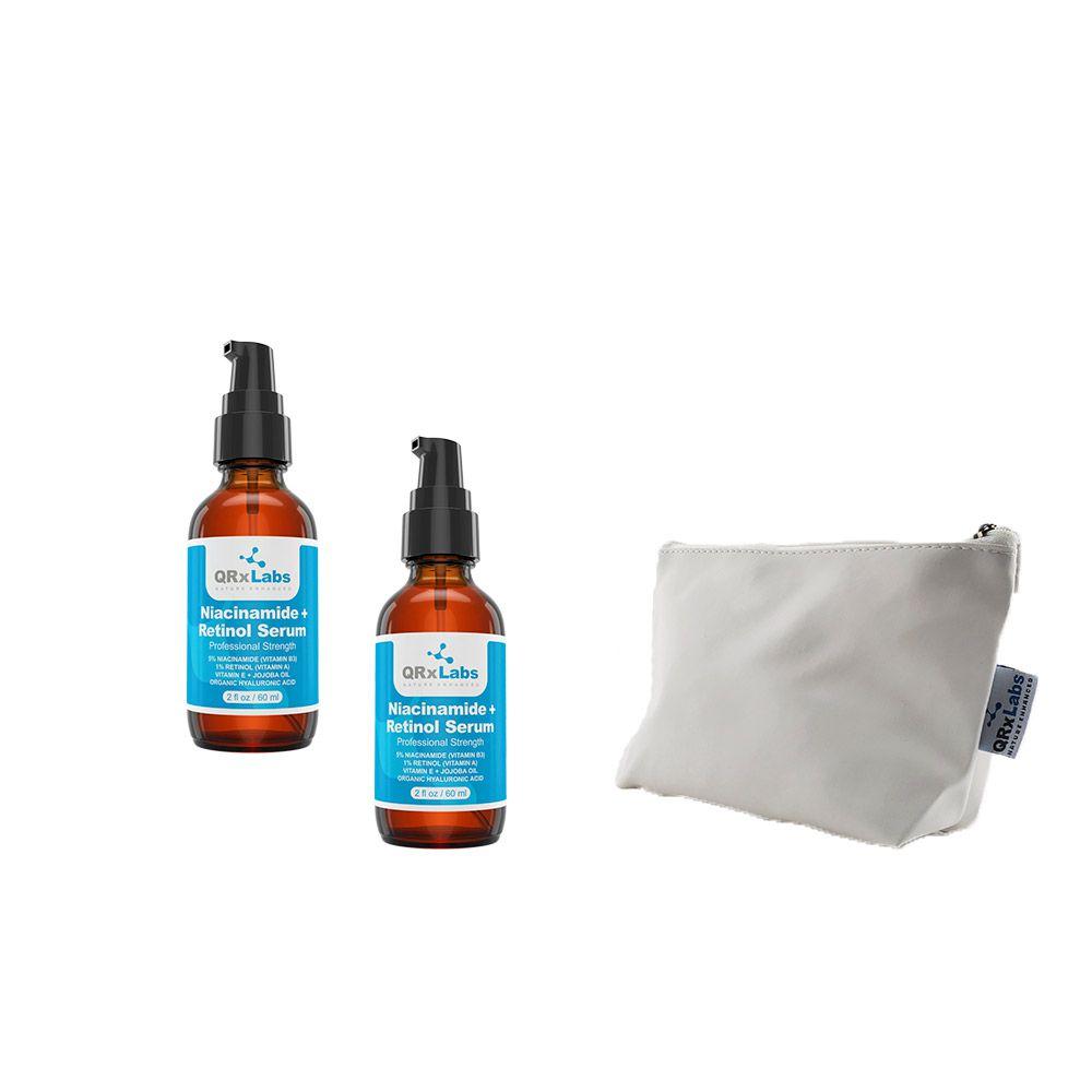 Kit 2 Sérum Facial QRxlabs Niacinamide e Retinol Sérum 60ml + Necessaire Branca