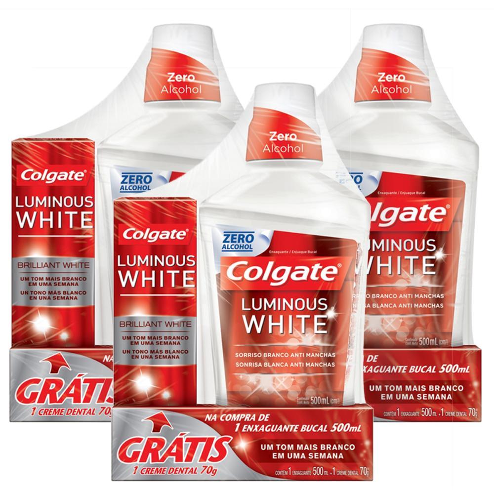 Kit 3 Enxaguantes Bucal Colgate Luminous White 500ml + Cremes Dentais