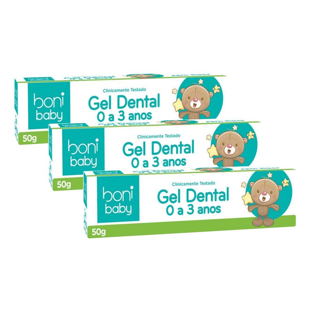 Kit 3 Gel Dental Sem Flúor Boni Baby Personagens 50g