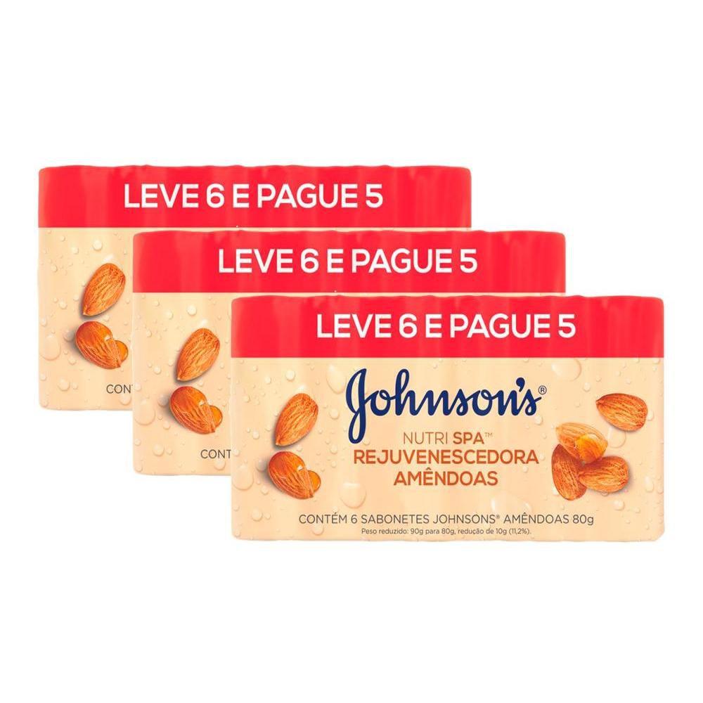 Kit 3 Pacotes Sabonete Barra Johnson's Amêndoas 80g Leve 6 Pague 5