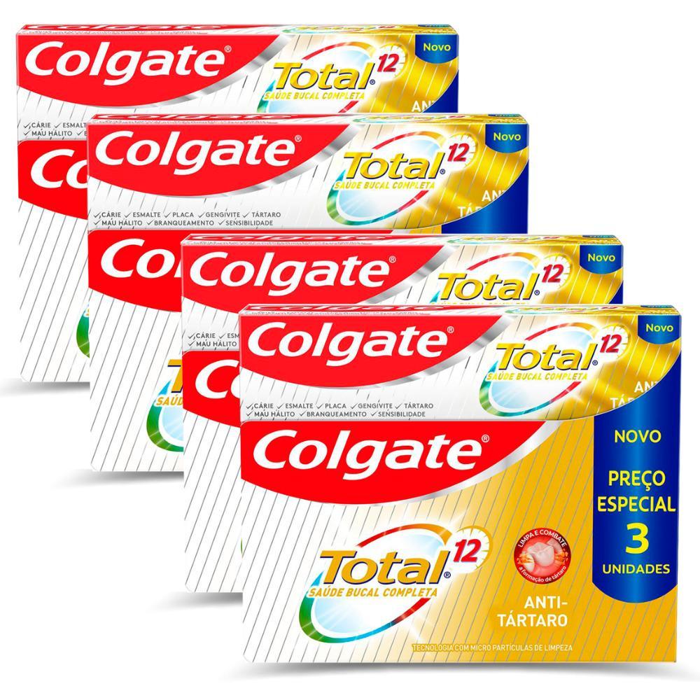 Kit 4 Cremes dental Colgate Total 12 Anti-Tártaro 90g- 3 Unidades cada