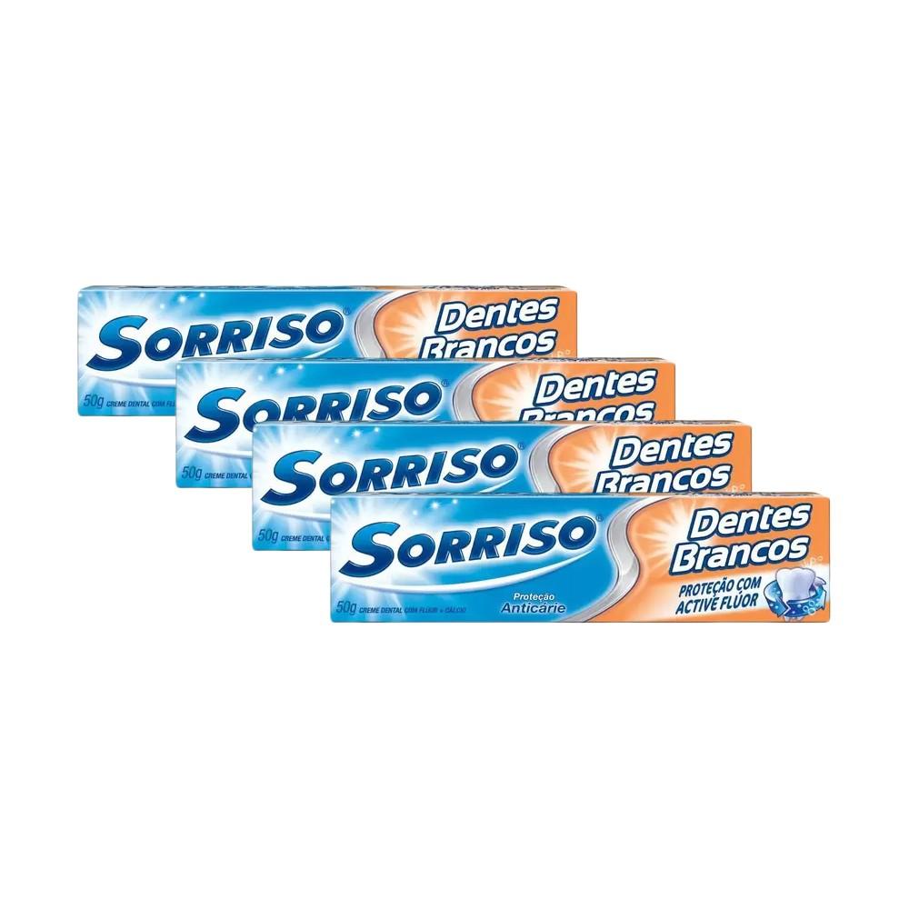 Kit 4 Cremes Dental Sorriso Dentes Brancos 50g
