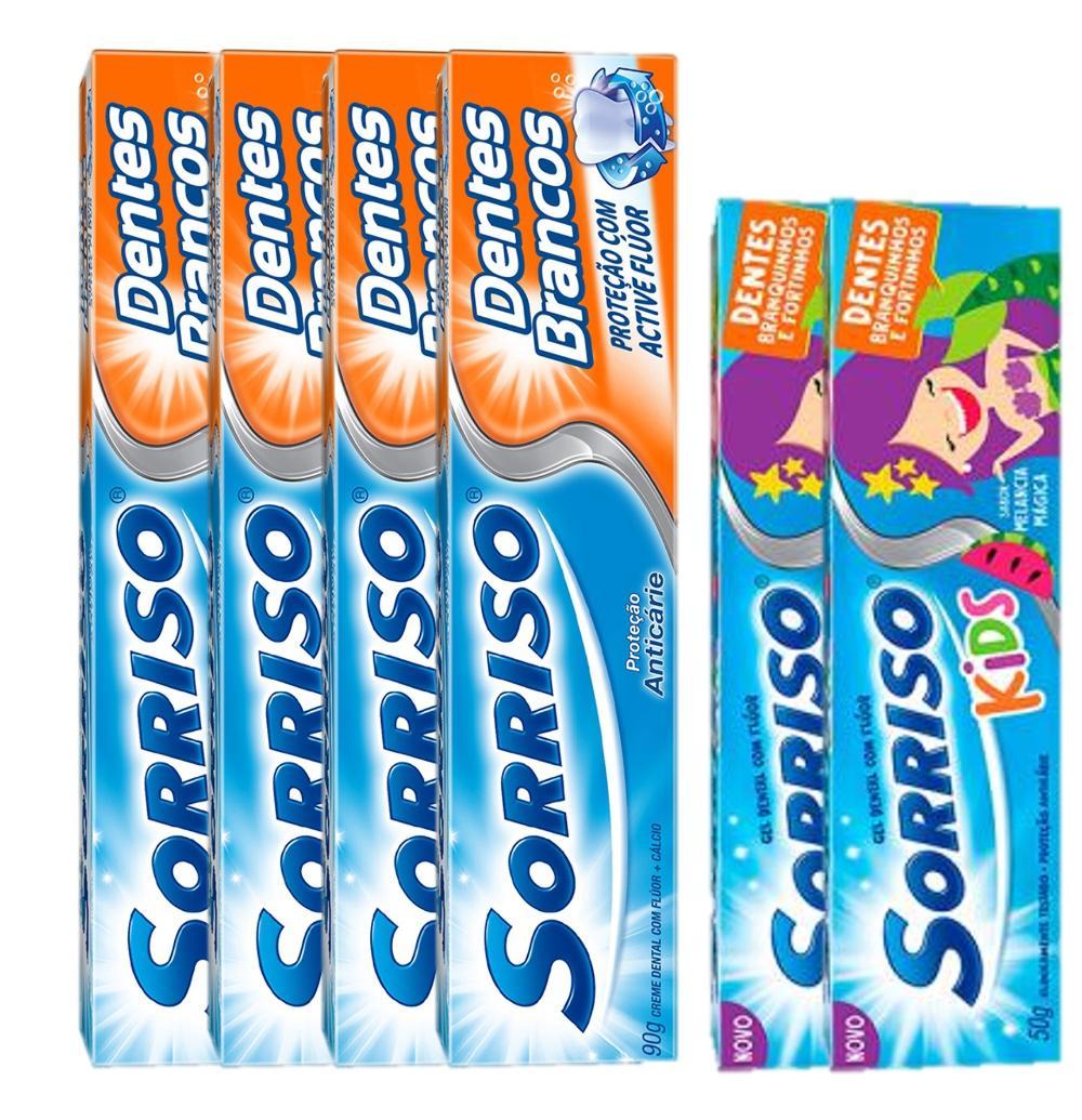 Kit 4 Cremes Dental SORRISO DENTES BRANCOS 90G + 2 Sorriso Kids 50g