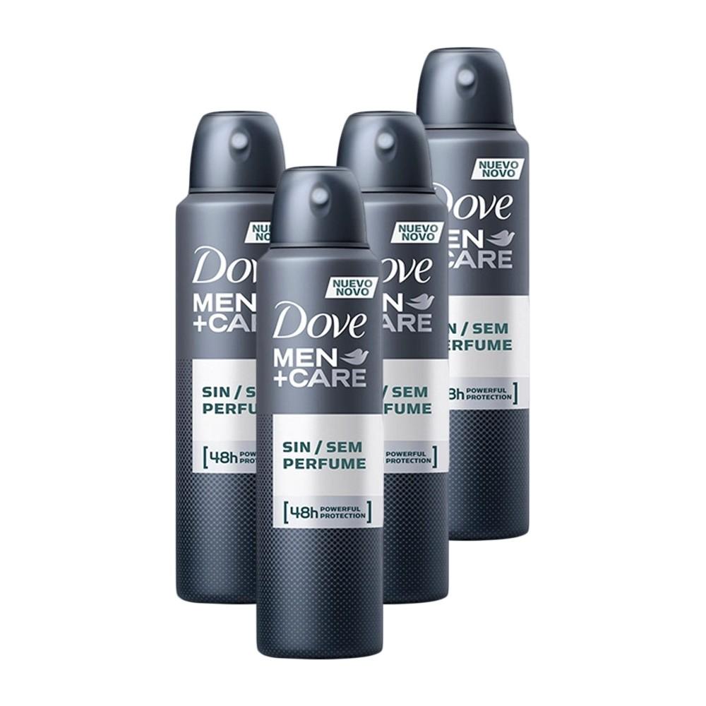 Kit 4 Desodorantes Dove Men+Care Antitranspirante Aerossol Sem Perfume 150ml