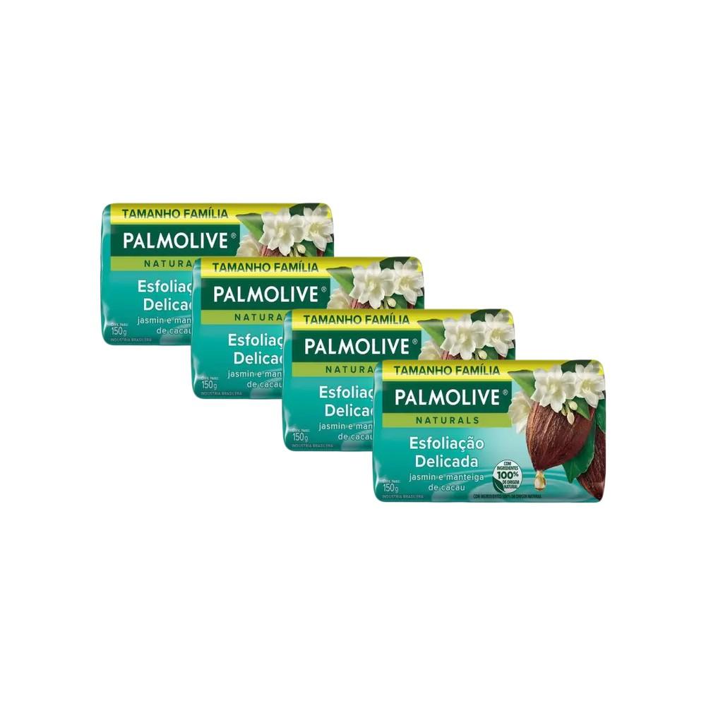 Kit 4 Sabonetes em Barra Palmolive Naturals Esfoliação Delicada 150g