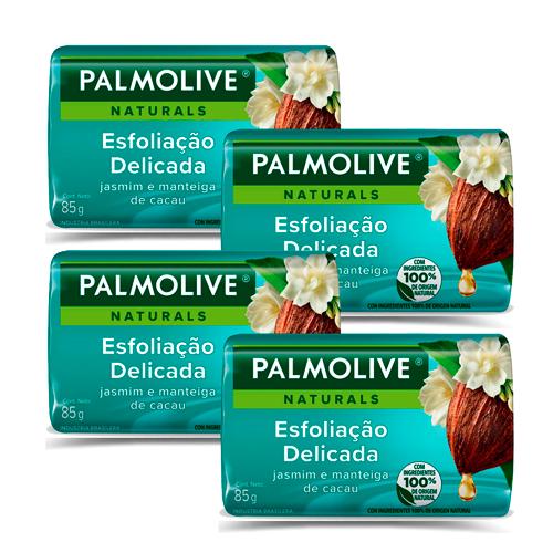 Kit 4 Sabonetes em Barra Palmolive Naturals Esfoliação Delicada 85g