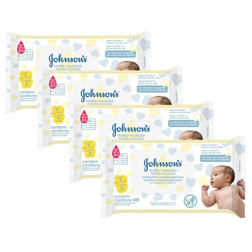 Kit 4 Toalhinhas Johnson's Baby Recém-Nascido S/Fragrância c/48