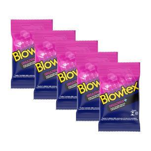 Kit 5 Pacotes Preservativo Blowtex Orgazmax com 3 Unidades cada