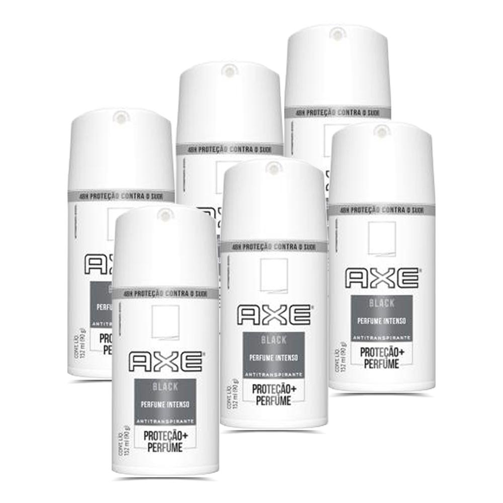Kit 6 Desodorantes Axe Aerossol Antitranspirante Black 152ml