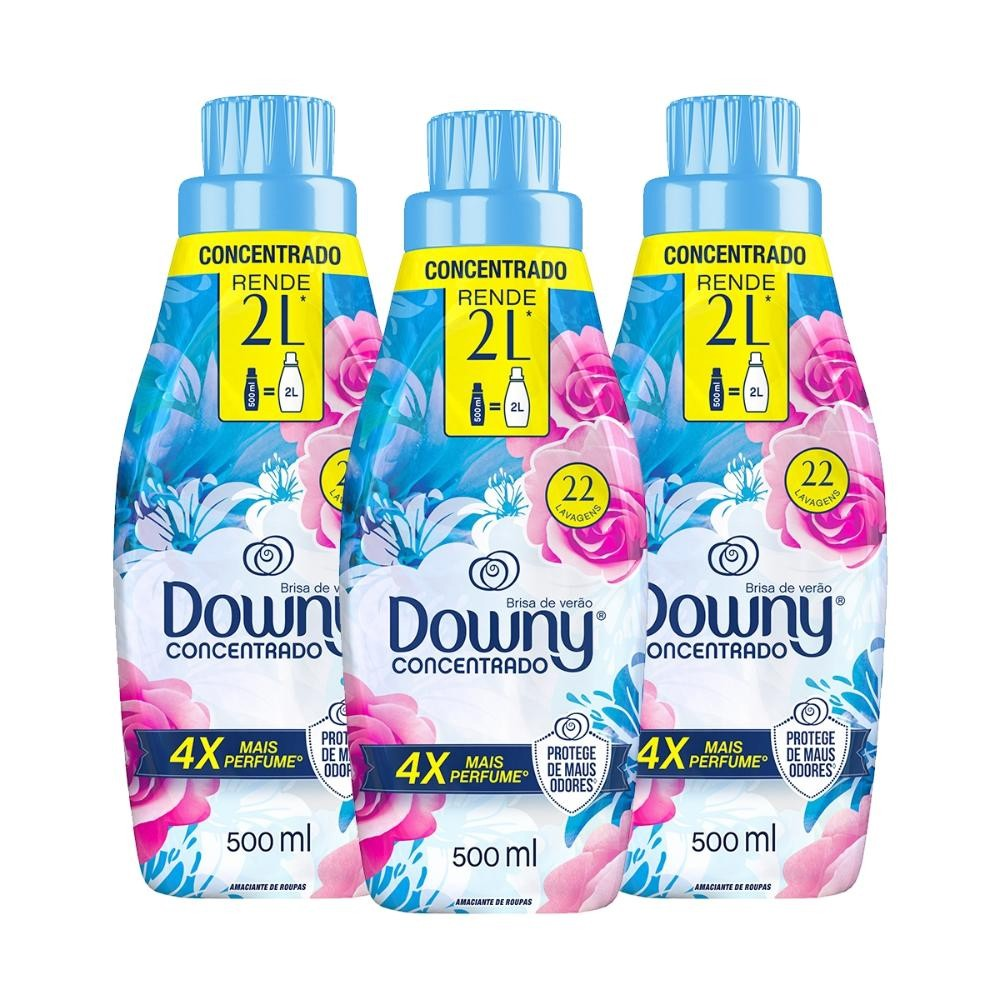 Kit Amaciante Downy 4X Concentrado - Brisa de Verão 500 ml com 3