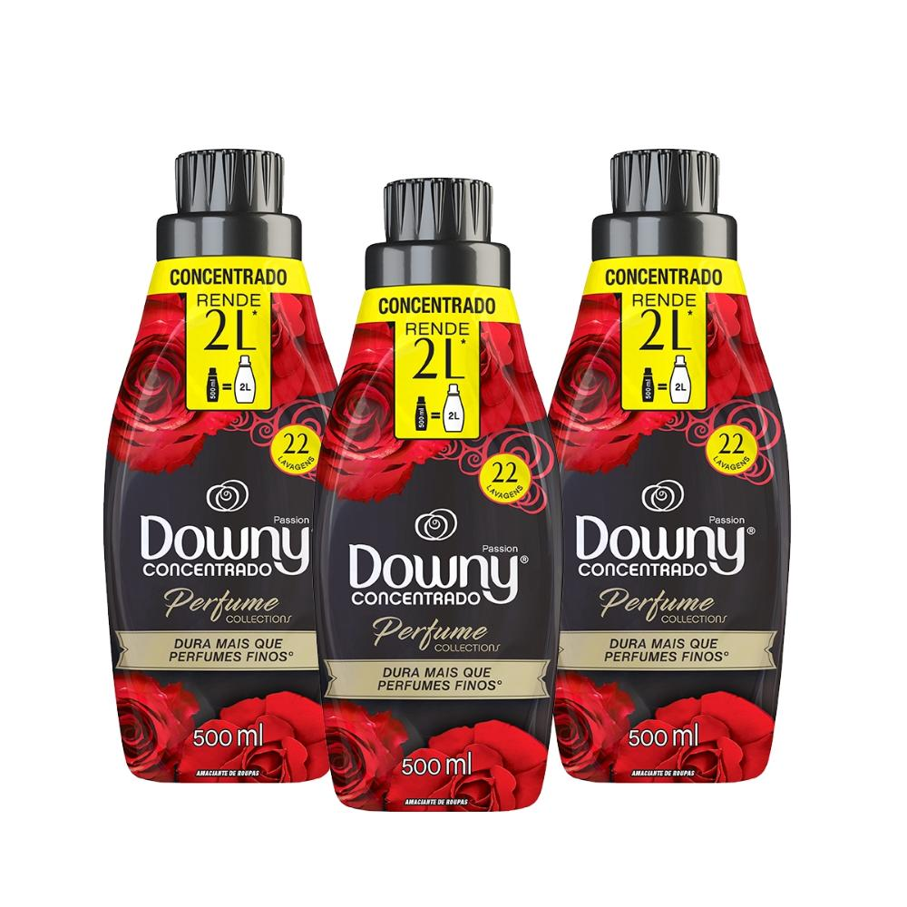 Kit Amaciante Downy 4X Concentrado - Passion 500ml com 3 unidades