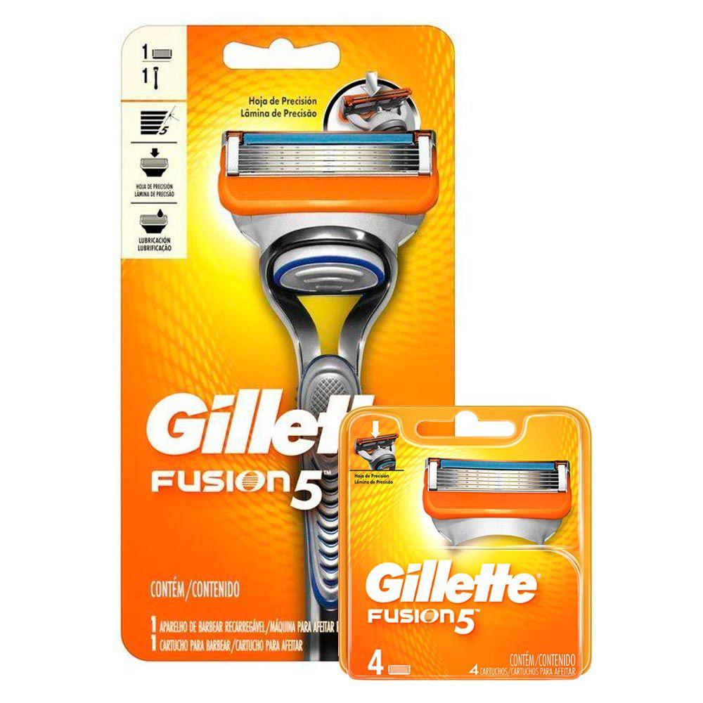 Kit Aparelho de Barbear Gillette Fusion 5 + Carga Gillette Fusion 5 com 2 unidades