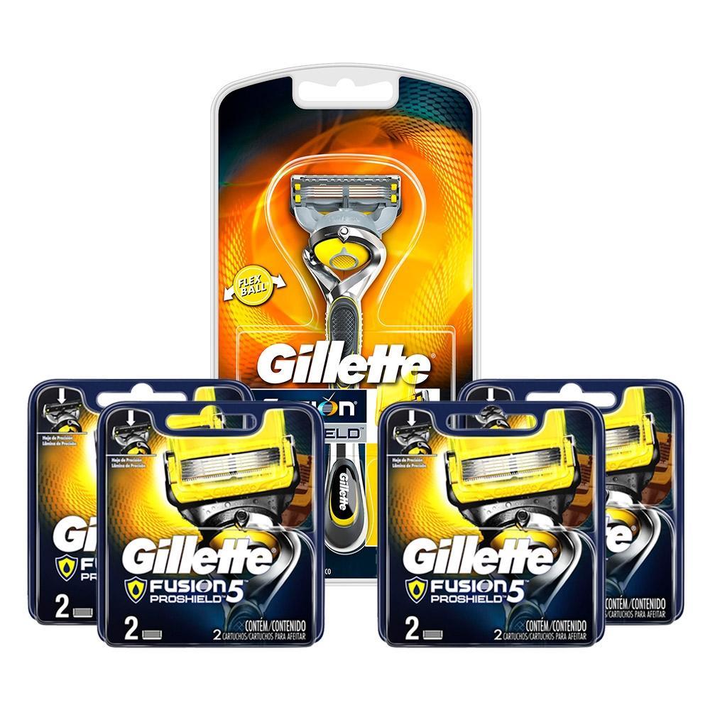 Kit Aparelho de Barbear Gillette Fusion Proshield + 4 Cargas Gillette Aparelho de Barbear Fusion Proshield c/2