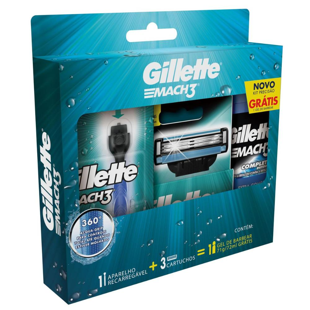 Kit Aparelho de Barbear Gillette Mach3 Acqua Grip c/ 2 Unidades + Gel de Barbear Complete Defense 72mL
