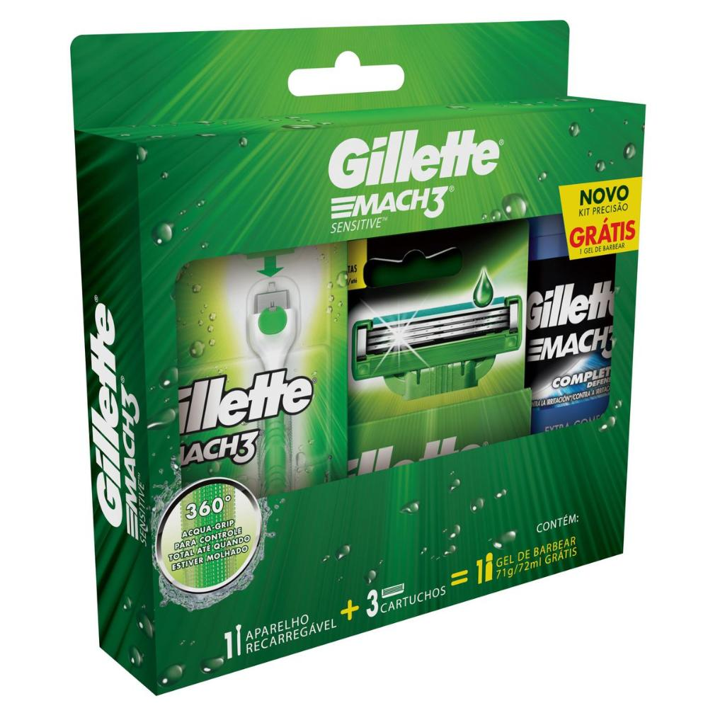 Kit Aparelho de Barbear Gillette Mach3 Acqua Grip Sensitive c/ 2 Unidades + Gel de Barbear Complete Defense 72mL