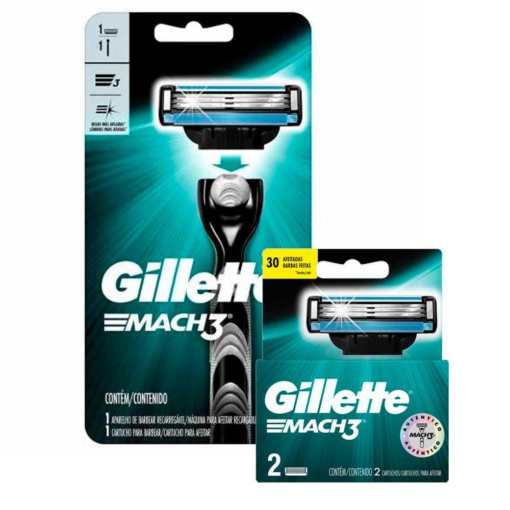 Kit Aparelho de Barbear Gillette Mach3 + Carga Gillette Mach3 com 2 unidades