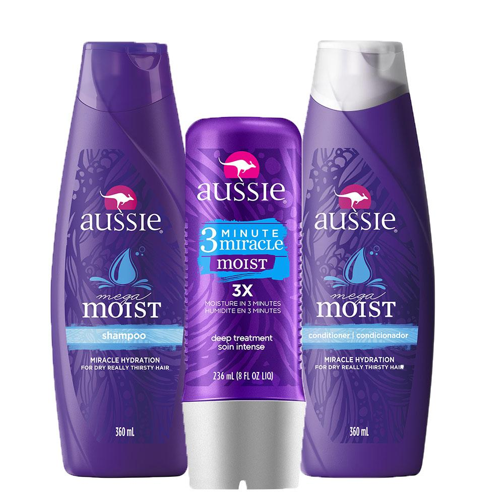 Kit Aussie Mega Moist 360ml+ Condicionador 360ml + Tratamento Aussie Moist 3 Minutos Miraculosos 236ml