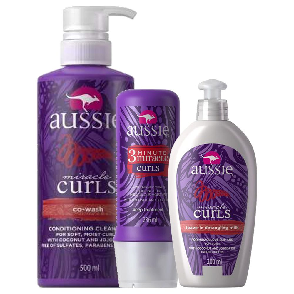 Kit Aussie Miracle Curls Tratamento 236ml + Spray 200ml + Co-Wash 500ml