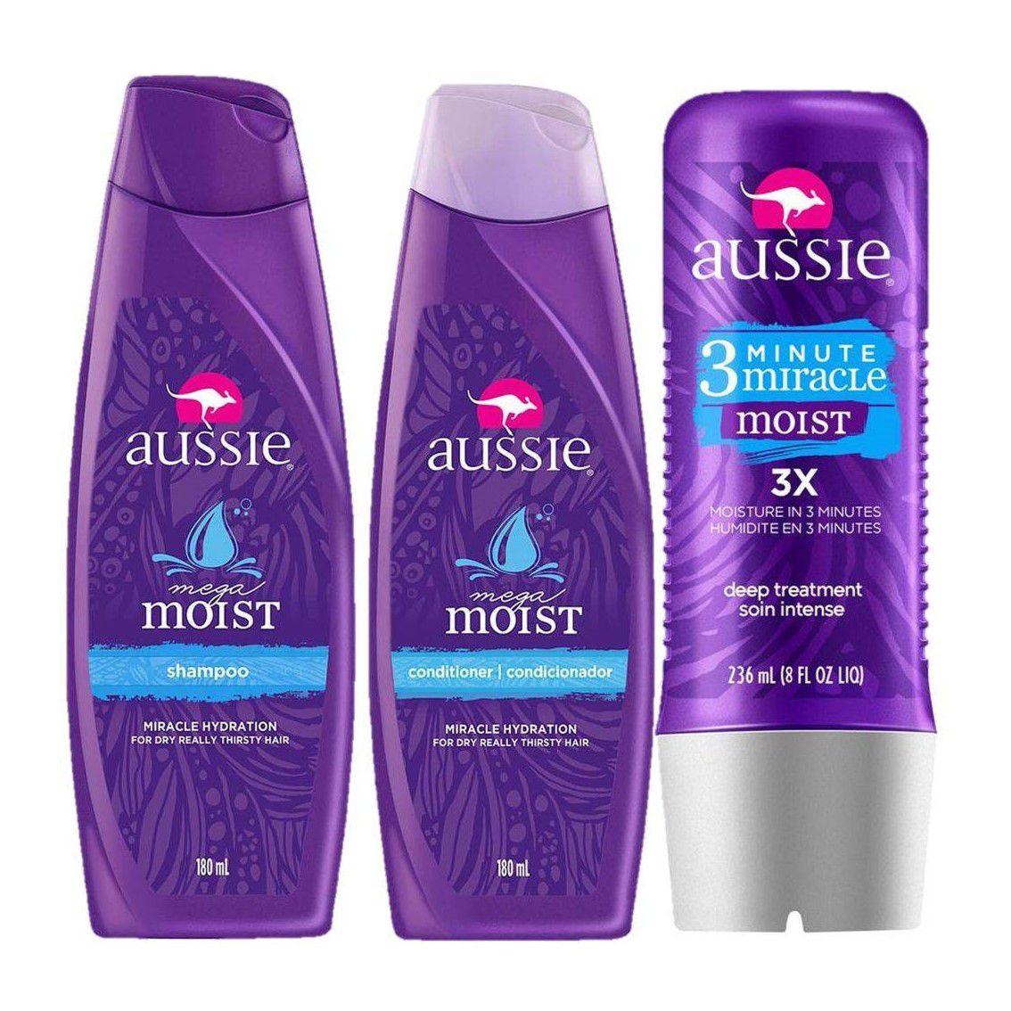 Kit Aussie Moist: Shampoo + Condicionador 180ml + Tratamento 3 Minutos 236ml
