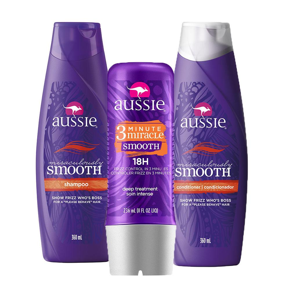 Kit Aussie Smooth: Shampoo 360ml + Condicionador 360ml + Tratamento Aussie 3 Minute Miracle Smooth Frizz Control 236ml